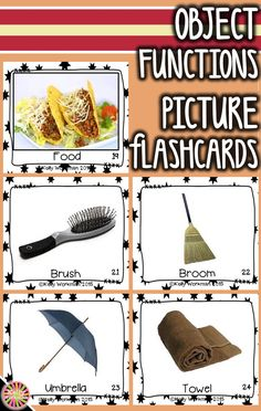 Looking for ideas to teach object functions? Develop this early language skill by using photo flashcards which are perfect for speech therapy, special education, autism, ELL, and Preschool. Click to see the full set and to download a free guide for flashcard games and activities!