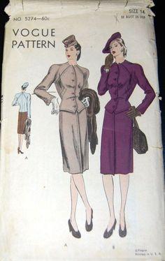Vintage Original Vogue 40's Suit Pattern No. 5274