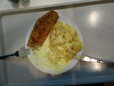 Seelachsfilet mit Kartoffeln und Soße