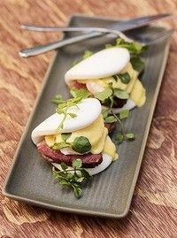Wagyu corned beef Benedict is served on Chinese lotus buns. Sydney New South Wales, Corned Beef, Buns, Lotus, Good Food, Pork, Chinese, Restaurant, Eat
