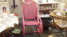 FEB CONTEST: REPURPOSED PINK WICKER ROCKER, DEALER 276, FLORIDA AVE AND BOOTH 19 AT THE BRASS ARMADILLO IN GRAIN VALLEY, MO.