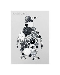PENGUIN 5X7 Button Art Button Artwork Button by CherCreations