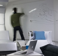love the big whiteboard wall (instead of just a hanging board) Corporate Interiors, Office Interiors, Google Office, Office Floor, Co Working, Master Bedroom Design, Office Interior Design, Floor Design, Commercial Interiors