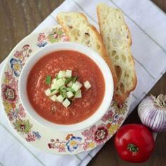 Featuring fresh summer vegetables, gazpacho makes an amazing meal or appetizer for a hot day, using heirloom tomatoes with Italian flavours.