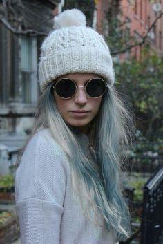 White and Blue hair round glasses white cap