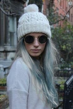 White and Blue hair round glasses white cap
