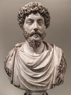 A marble portrait bust of Marcus Aurelius on loan to the Metropolitan Museum of Art from the Musée du Louvre.