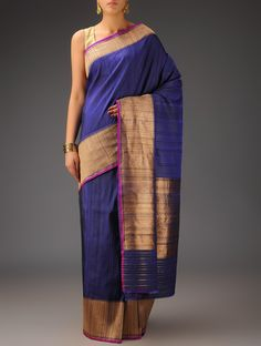Buy Blue Fuschia Banarasi Silk Zari Handwoven Saree by Bandhej Winds of the West Traditional Asavali and Brocade Sarees Dupattas Online at Jaypore.com