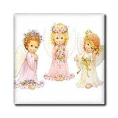 """3 Little Angels - 12 Inch Ceramic Tile by 3dRose. $22.99. Construction grade. Floor installation not recommended.. High gloss finish. Dimensions: 12"""" H x 12"""" W x 1/4"""" D. Clean with mild detergent. Image applied to the top surface. 3 Little Angels Tile is great for a backsplash, countertop or as an accent. This commercial quality construction grade tile has a high gloss finish. The image is applied to the top surface and can be cleaned with a mild detergent."""
