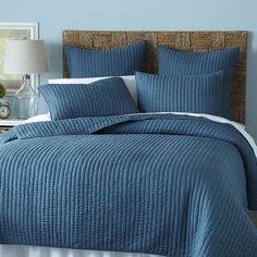 Avery Pick-Stitch Bedding & Quilt - Ocean Blue