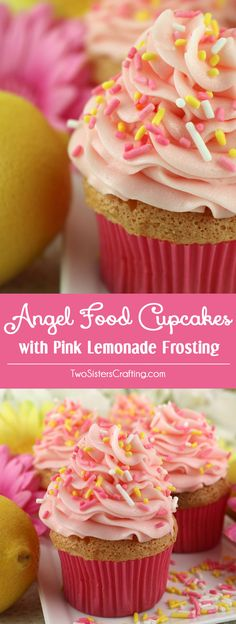 These Angel Food Cupcakes with Pink Lemonade Frosting are a super delicious Easter dessert. Light and airy cupcakes and sweet, tart and yummy Pink Lemonade Buttercream frosting combine into one perfect Spring Cupcake Recipe. What a tasty Easter Treat, Mother's Day snack or Spring Brunch food. Pin this easy to make summer dessert for later and follow us for more great Easter food ideas.