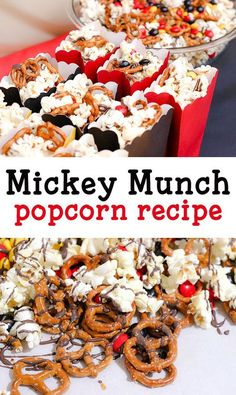 A Mickey Mouse themed party isn't complete without a Mickey themed treat. This recipe for Mickey Munch is easy enough to make for a play date or party. Mickey Mouse Desserts, Mickey Mouse Treats, Mickey Mouse Games, Minnie Mouse, Disney Desserts, Disney Recipes, Mickey Mouse First Birthday, Mickey Mouse Clubhouse Birthday Party, 2nd Birthday