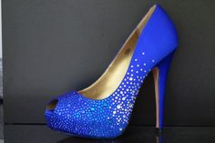 Dazzling blue pumps with blue and clear crystals towards the bottom