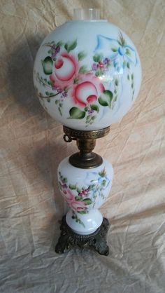 Beautiful Victorian Gone With The Wind Parlor Lamp Bright Floral Violet Red Blue