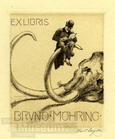 Exlibris of  Bruno Möhring by Kurt Leyde. Courtesy of Stadtgeschichtliches Museum Leipzig.
