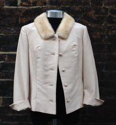 VTG Stunning 1950s Slub/Silk Blend Dupion Fur Collar Handmade Jacket UK  16/18s