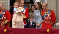Prince George makes his first #TroopingtheColour balcony appearance!