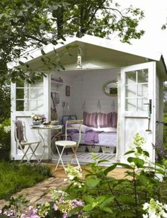 We never thought we'd say this, but she-sheds are right at the top of our dream home wish list. shed design shed diy shed ideas shed organization shed plans Outdoor Rooms, Outdoor Living, Garden Cottage, Home And Garden, Shed Interior, Interior Garden, Interior Ideas, Pergola Diy, Backyard Sheds