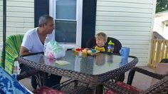 Grandpaw an grandson having fun!!!:-)