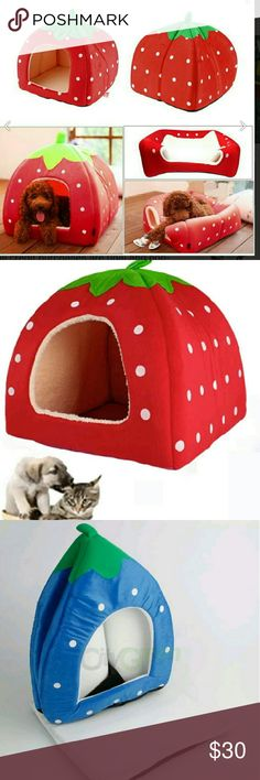 Strawberry bed house AND bamboo mat Made of high quality short plush, thick warm fabric Adopt soft warm cotton cloth on the wall, washable and durable With breathable, moisture-proof non-woven bottom Create a comfortable bed for your pet's healthy sleeping and rest It is super soft and warm, so your pet will feel happy when in it. est bedroom or resting place for your pet dog or cat. Lovely strawberry style, simple but good-looking Material: 20% Cotton,80% Polyester Color: Red  Small…