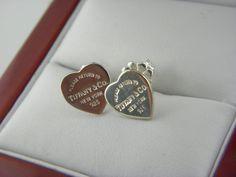Tiffany&Co Return to Tiffany Mini Heart Tag Earrings in Sterling Silver. #TiffanyCo #Stud