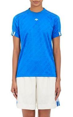 adidas da alexander wang donne broccato giallo calcio t - shirt,
