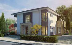Die neuen Stadvillenentwürfe nutzen zwei Vollgeschosse und kommen damit mit weniger Grundfläche aus. Das ist ideal für städtische Bebauung, wo die Grundstücke oftmals teurer sind, als die Häuser. Die Vorderseite in moderner Holztafelbauweise wirkt durch die schmalen Fensterbänder recht geschlossen und schützt die Privatsphäre zur Straße hin. Umso mehr öffnet sich die Villa auf der Gartenseite: Hier ist als besonderes Stilelement die großzügige Verglasung über beide Vollgeschosse vorgesehen… Mansions, House Styles, Modern, Home Decor, Villas, Detached House, Trendy Tree, Decoration Home, Manor Houses