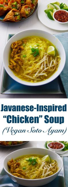 Take a break from ordinary vegan chicken soup with this Javanese-inspired meal-in-a-bowl with a broth richly spiced with ginger, garlic, and turmeric. Best Indian Recipes, Best Vegan Recipes, Vegetarian Recipes, Healthy Recipes, Vegan Stew, Vegan Soups, Vegan Food, Javanese Recipe, Soto Ayam Recipe