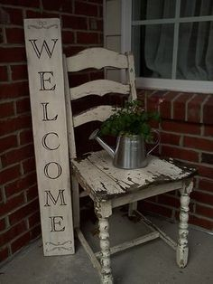 Friend provided the awesome chair and I made the sign. Pot from Target dollar bins and Columbine plant from Lowes. Welcome spring!! Summer Front Porches, Small Porches, Small Patio, Country Decor, Rustic Decor, Farmhouse Decor, Rustic Signs, Country Homes, Porch Chairs