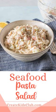 A cold seafood salad made with orzo, salad shrimp, crab meat, and cuts some of the fat by utilizing Greek yogurt in addition to mayo. A delicious and easy summer side dish. Healthy Holiday Recipes, Summer Salad Recipes, Good Healthy Recipes, Lunch Recipes, Healthy Foods, Seafood Salad, Seafood Pasta, Seafood Dinner, Easy Pasta Recipes