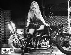 Brigitte Bardot - a movie icon during the 1950's and internationally-renowned pinup beauty was such a fan of Harleys.