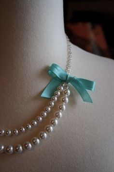 Pearl Bridal Necklace with Tiffany Blue Bow