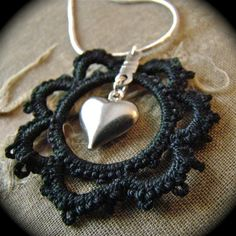 I won a necklace very similar to this, by this artist, and received compliments on it the very first time I wore it. It is so beautiful. All of her work is eye catching. Tatted Pendant Necklace Black Heart One Of A Kind by TotusMel, $22.00