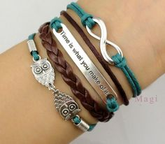 """Infinity,""""Time is what you make of it""""and Owls Charm Bracelet-Silver, Wax Cords and Leather Braided Bracelet-Personalized, Friendship gift on Etsy, $5.99"""