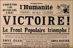 """""""Une"""" du quotidien français """"l'Humanite"""", le 4 mai 1936."""