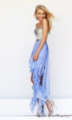 High low Strapless Sweetheart Sexy Prom Dress Party Gown Beaded Neckline Bodice