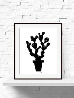 INSTANT DOWNLOAD Cactus Art Print, Modern Minimalist, Black and White Print