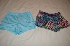 Justice 10 Roll Down Shorts Gym Active Wear Blue Black Gray Heart Peace Lot of 2 #Justice #Everyday