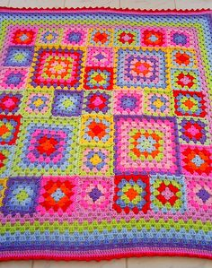 traditional granny square blanket   Flickr - Photo Sharing!