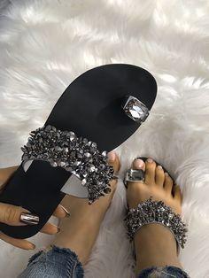 55ed215b30bf8a Womens Shiny Toe Ring Flat Sandals Flat Sandals