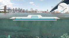 A piscina flutuante que serve de filtro à água vinda do rio East River, em NY foi aprovada e apoiada pela população. - ww.portobello.com.br/blog/?p=20992