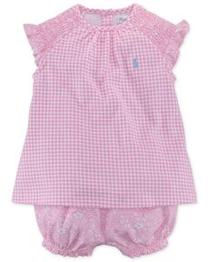 Ralph Lauren Baby Girls' 2-Piece Gingham Top & Shorts Set - Kids Baby Girl (0-24 months) - Macy's
