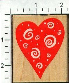 Bold Swirl Heart Rubber Stamp