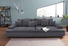 Nova Via Big-Sofa, grau, Aqua Clean Enoa Black Couches, Big Sofas, Black Sofa, Sofa U Form, Big Sofa Grau, Xxl Sofa, Living Room Sets, Sofa Furniture, New Room