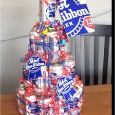 """Beer can cake! Just love this idea now that none of my friends want """"things"""" for their birthdays! My Husband Birthday, 21st Birthday, Birthday Parties, Birthday Ideas, Party Gifts, Diy Gifts, Beer Can Cakes, Fun Ideas, Creative Ideas"""