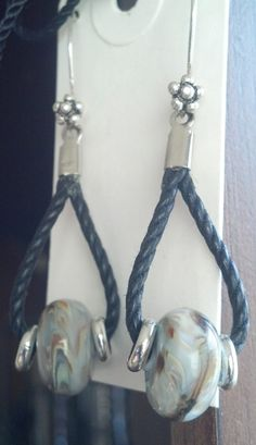 Lampwork and cotton cording earrings