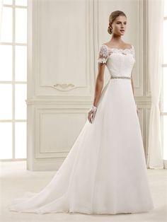 Off the Shoulder Beaded Waist Tulle Wedding Dress WD2426 www.tidedresses.co.uk $165.0000