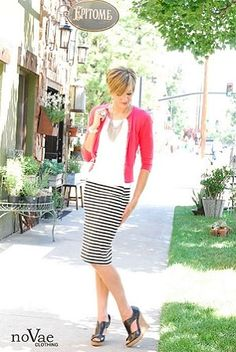 These Below the Knee Striped Skirts from noVae Clothing are amazing! On sale now for only $19.99! With how they stretch and fit, I could wear it every day! #fashion #modestclothing