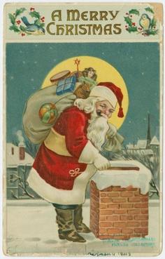 Santa Claus con pipa y regalos