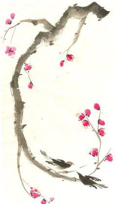 El «sumi-e» es una técnica de pintura en tinta negra original de China. Es una pintura naturalista, que nace de la filosofía taoísta, y se basa en el respeto hacia la naturaleza: se plasma en el papel todo lo que tenga vida. Se empieza con cuatro motivos iniciales (caña de bambú, orquídea, ciruelo y crisantemo) y posteriormente se pueden ir creando motivos florales, árboles, paisajes. Un estilo de pintura delicado y apacible que me encanta...
